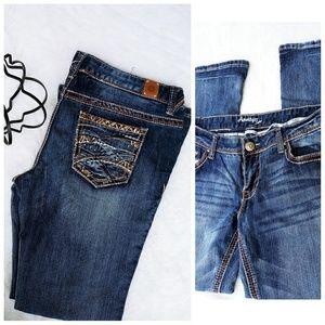 Amethyst 13 bootcut mod rise dark wash jeans